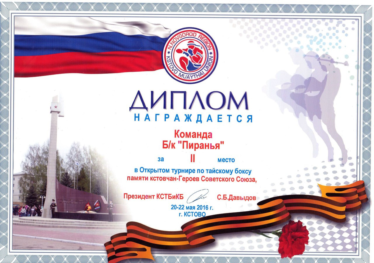 Наши дипломы Тайский бокс в Нижнем Новгороде Наши дипломы